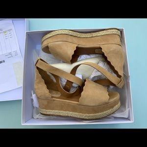 Chloe Shoes - Beige Lauren Wedges - NEW WITH BOX